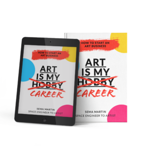 mock up of the art is my career how to start an art business book and eBook on a tablet